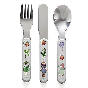 Cutlery Right Start fleur Enfant 3 Parties