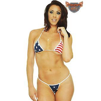 Women's Bikini USA Flag Micro Thong Only