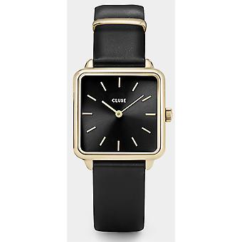 CLUSE La Tetragone Square Dial Gold PVD Case Black Leather Strap Ladies Watch CL60008