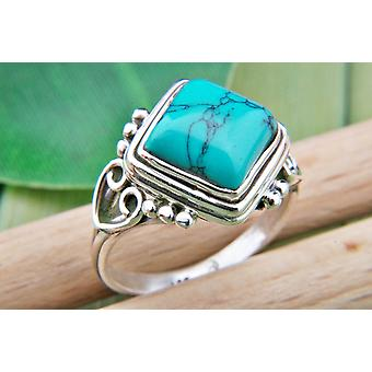 Turkos ring 925 silver Sterling Silver kvinnors ring grön blå (MRI 67-15)