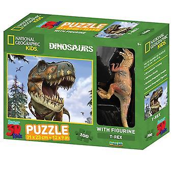 Prime 3D Puzzel Met Speelfiguur 31x23cm 100st. Dinosaurus 5+