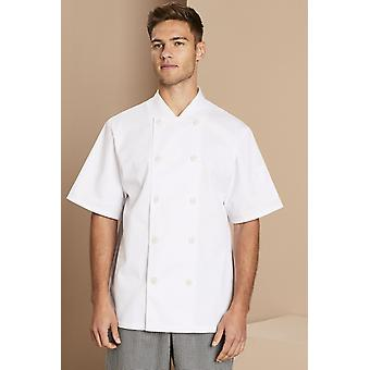 SIMON JERSEY Men's Short Sleeve Heat Proof Button Chef's Jacket, White