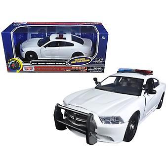 2011 Dodge Charger Verfolgung Polizei Auto weiß mit blinkenden Lichtleiste, Front- und Rückleuchten und 2 Sounds 1/24 Diecast Modellauto von Motormax