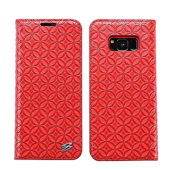 لسامسونج غالاكسي S8 PLUS محفظة القضية، FS النحاس عملة جلدية الغطاء الجلدي، الأحمر