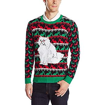 Blizzard Bay Men's Ugly Christmas Sweater Cat, Black/Green, XX-Large