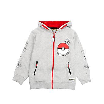Pokemon Boys Hoodie Zip Up Grey Long Sleeve Chandail à capuchon