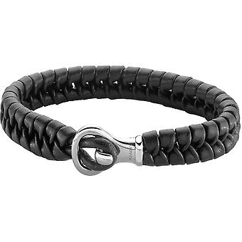 Zeades Sabaye black - Bracelet steel black man leather bracelet