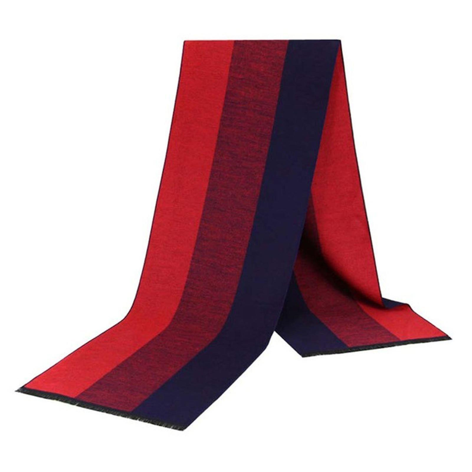 Navy blue & red stripe pattern bamboo long men's scarf
