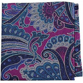 Posh and Dandy Edwardian Paisley Silk Pocket Square - Pink/Turquoise