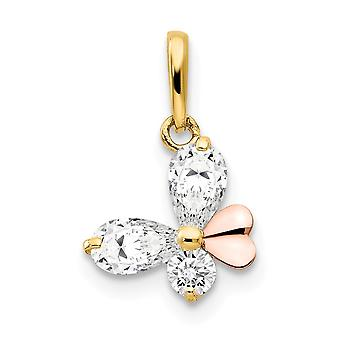 14k Yellow and Rose Gold CZ Cubic Zirconia Simulated Diamond for boys or girls Butterfly Angel Wings Pendant Necklace