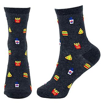 Women's Fast Food Print Novelty Crew Socks