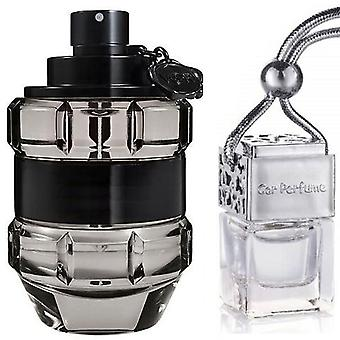 Viktor & Rolf Spice Bomb For Him Inspired Fragrance 8ml Chrome Lid Bouteille de voiture suspendu Véhicule Auto Air Assainisseur