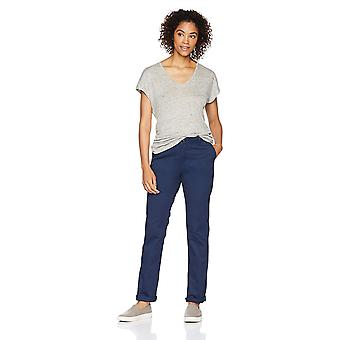 Amazon Essentials Women's Straight-Fit Stretch Twill Chino, Navy, Size 14.0