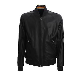 Corneliani 85l5x70120105001 Men's Black Leather Outerwear Jacket