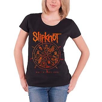 Slipknot T Shirt Womens The Wheel tour 2015  new Official roll sleeve skinny fit