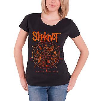 L'ajustement Slipknot T Shirt Womens la roue tour 2015 nouveau officiel rouleau manchon maigre
