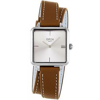 Opex OPW046 Watch - SQUARE Leather Bracelet Brown Bo tier Silver Steel Women