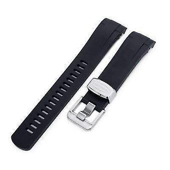 Cinghia strap orologio in gomma 22mm buca blu - cinturino da orologio a lug in gomma nera curva per tudor black bay m79230