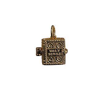 9ct Gold 12x11mm bewegliche Bibel mit dem Ave Maria in Anhänger oder Charm