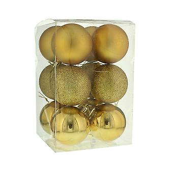 12 goud 6cm Shatterproof kerstboom bauble decoraties