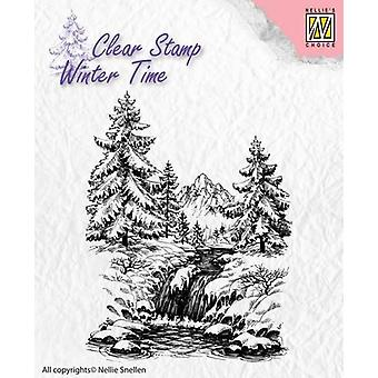 Nellie's Choice Clearstamp - Winter Time Winter Waterfall WT004