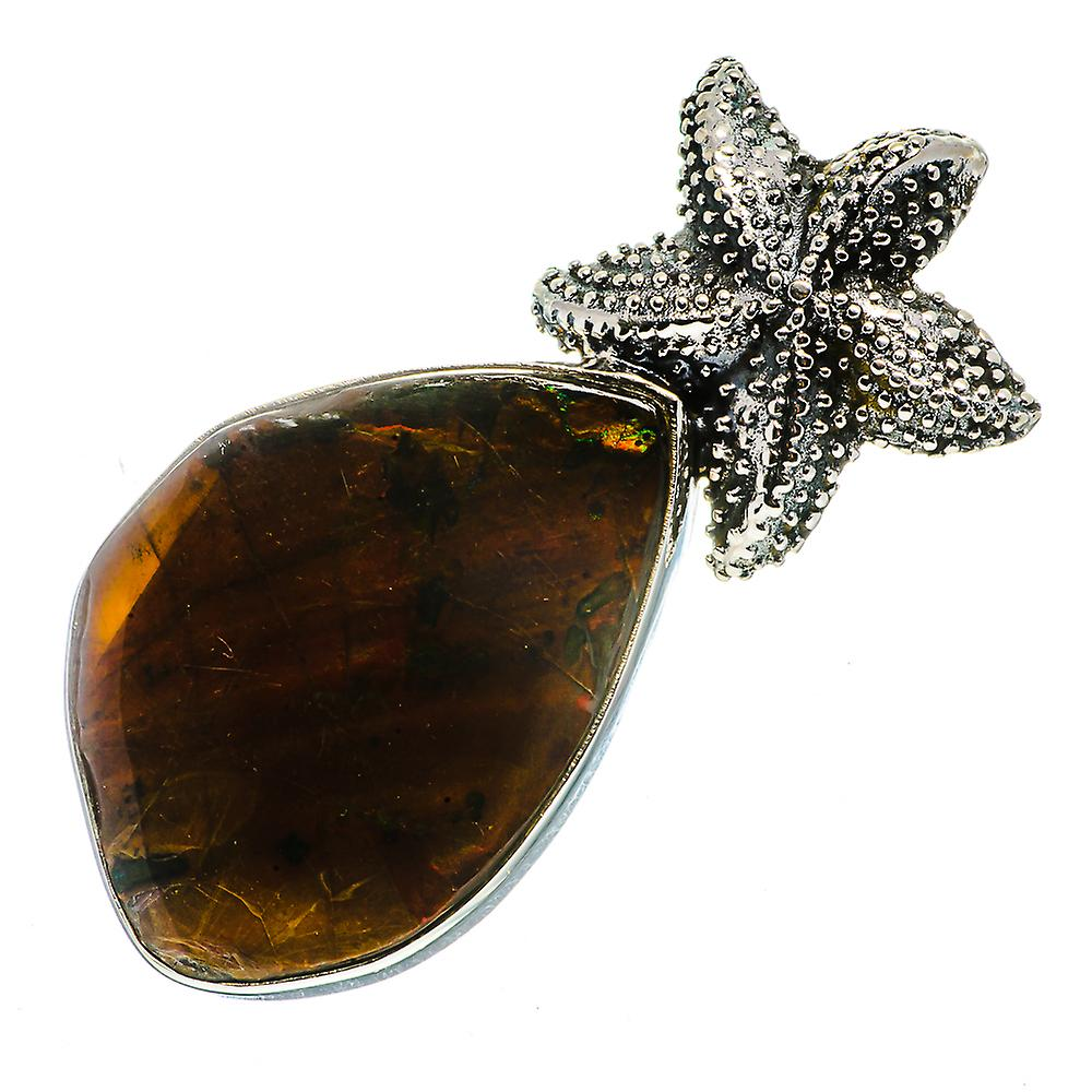 "Ammolite Starfish Pendant 2"" (925 Sterling Silver)  - Handmade Boho Vintage Jewelry PD724237"