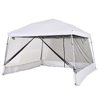 Outsunny 3.6 x 3.6m Outdoor Garden Pop-up Gazebo Canopy Tent Sun Shade Event Shelter Folding with Mesh Screen Side Walls - White