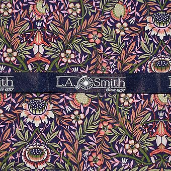 Purple & Green Liberty Art Fabric Floral Print Pocket Square