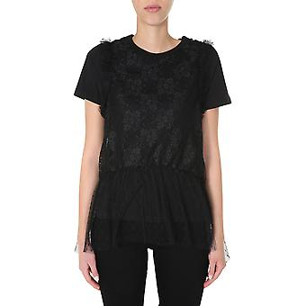 Red Valentino Tr0mg06d5530no Women's Black Cotton T-shirt