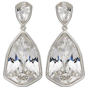 Elemente Silber Trilliant Form Kristall Ohrringe - Silber/Klar