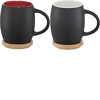 Avenue Hearth Ceramic Mug With Wood Lid/Coaster (Pack of 2)