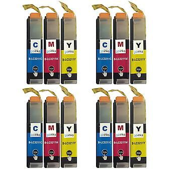4 sets C/M/Y-inktcartridges ter vervanging van Brother LC3211 Compatible / niet-OEM voor Brother DCP- en MFC-printers (12 inkten)