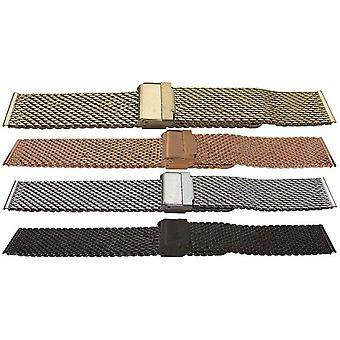 Watch bracelet open mesh with safety clasp 10mm-24mm