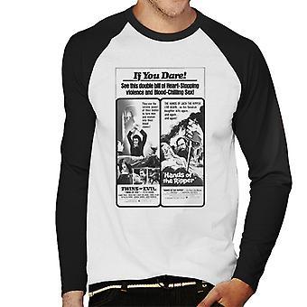 ハンマーホラーフィルムツインズリッパーハートストップはメン&アポスを示しています;s野球長袖Tシャツ