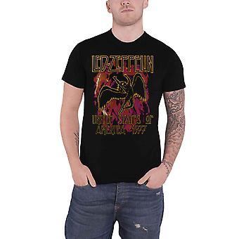 Led Zeppelin T Shirt Black Flames USA 1977 Band Logo new Official Mens Black