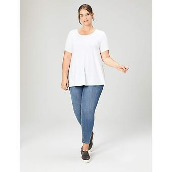 Daily Ritual Women's Plus Size Jersey Short-Sleeve Scoop Neck Swing T-Shirt, White, 4X