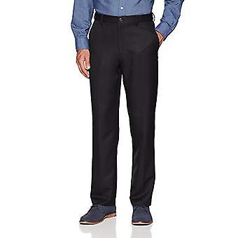 Essentials Men's Expandable Waist Classic-Fit Flat-Front Dress Pants, Noir, 29W x 30L