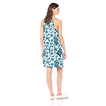 28 Palms Women's Tropical Hawaiian Print Spaghetti Strap Shift Dress, Aqua/Wh...