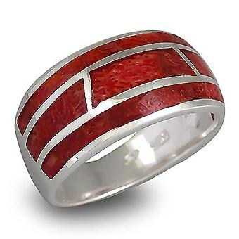 ADEN 925 Sterling Silver Coral Ring (id 988)