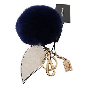 Dolce & Gabbana White Blue Leather Fur Gold Clasp Keyring Keychain -- SMYK429104