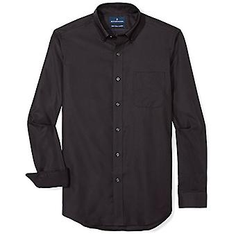 """BUTTONED DOWN Men's Classic Fit Supima Cotton Button-Collar Dress Casual Shirt, Black, 19-19.5"""" Neck 38-39"""" Sleeve (Big and Tall)"""