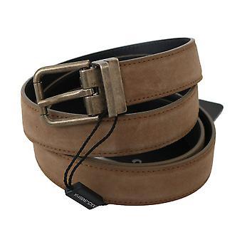 Dolce & Gabbana Brown Suede Leather Gold Buckle Belt -- BEL6551216