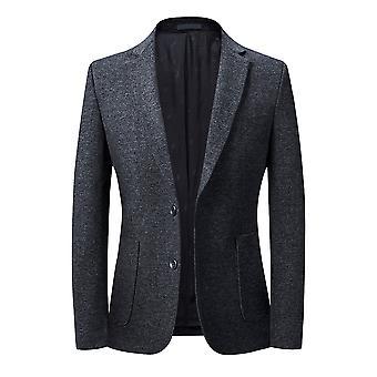 YANGFAN Men's Casual Knitted Suit Jacket Stretch Slim Fit Two-button Blazer