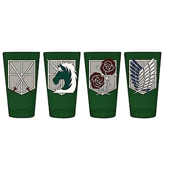 Pint Glass Attack on Titan Regiment & Corps Symbols Pack of 4