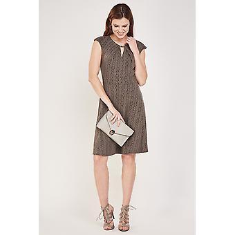 Textured Keyhole Midi Dress