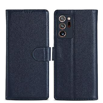 For Samsung Galaxy Note 20 Ultra Case Fashion Genuine Leather Wallet Cover Blue