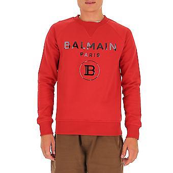 Balmain Uh13279i382mab Hombres's Sudadera de algodón rojo