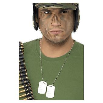 Dog Tag Army Chain Soldier Fancy Dress Costume Accessory
