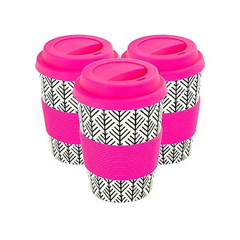 Reusable Coffee Cups - Bamboo Fibre Travel Mugs with Silicone Lid, Sleeve - 350ml (12oz) - Geometric - Pink - x3