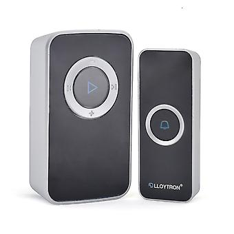 Lloytron Melody MIP3 Lithium Rechargeable Portable Door Chime Kit Black B7032BK